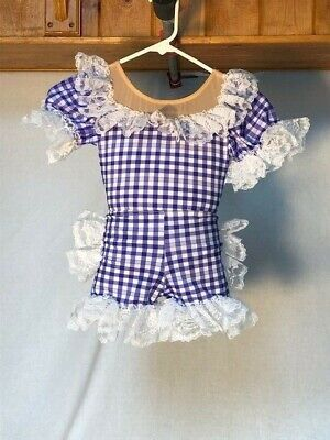 Blue & White Gingham & Lace Youth