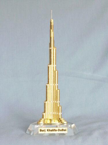 "DUBAI BURJ KHALIFA TOWER GOLD 7"" 175mm METAL SOUVENIR FROM UAE"
