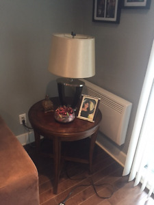 WOOD END TABLE WITH LAMP - MOVING SALE - PRICED TO SELL