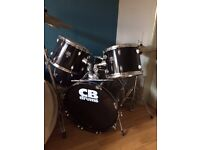 CB drum kit (full size beginners) Extra symbols and stands, stool , sticks .