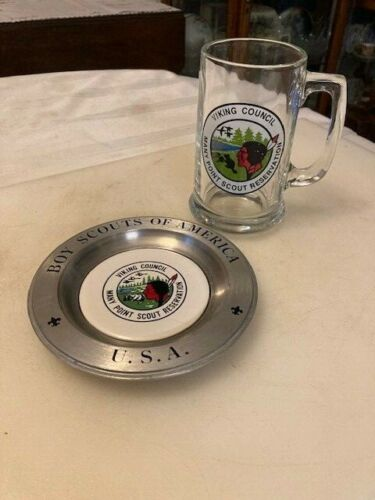 Vintage Boy Scouts Viking Council Many Point Reservation Glass Mug, Pewter Plate