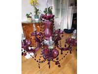 dark pink chandelier style light