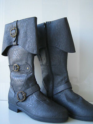 ADULT MENS COLONIAL CAPTAIN CARRIBEAN PIRATE BOOTS W/ CUFF BUCKLES BLACK BROWN  (Pirate Boot Cuffs)