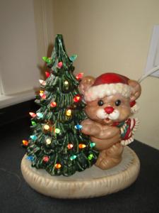 Green Ceramic Light-Up Christmas Tree with Teddy Bear