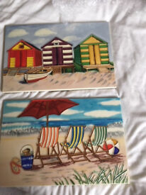 2 Glossy Seaside Picture Tiles with 'Beach Huts' and 'Deckchairs'