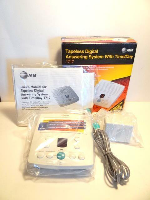 NOS Vtg AT&T 1717 Tapeless Digital Answering Machine System w/ Time/Day Announce
