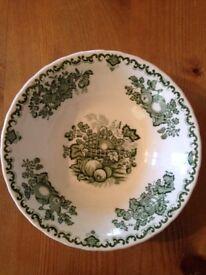 For Sale , Masons, Fruit Basket, Green, bowls x 5