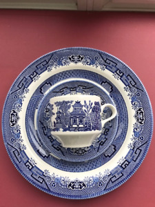 Churchill Blue Willow set :Plate,Cup and Saucer Made in England