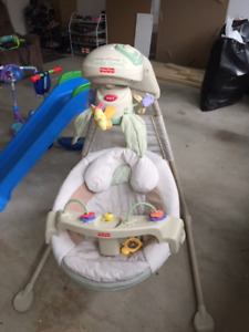 Fisher Price Baby Swing, Eddie Bauer Playpan & Infant Car seats.