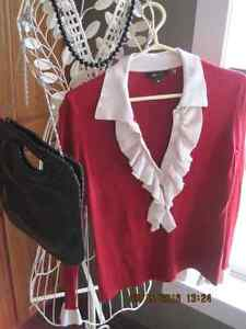 BCBG MAX AZRIA Red and Cream Ruffled Spring Ladies Sweater