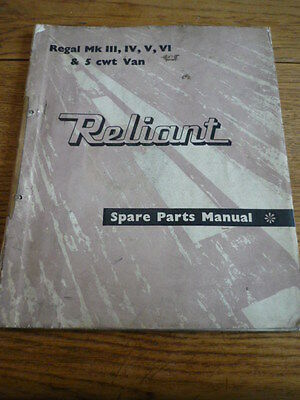 RELIANT REGAL MK 111, IV, V & VI SPARE PARTS MANUAL CAR BOOK