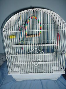 SMALL WHITE BIRD CAGE WITH ALL ACCESSORIES / PETITE CAGE