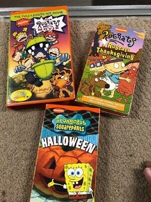 Rugrats - THANKSGIVING & THE RUGRATS MOVIE FULL & SPONGEBOB HALLOWEEN VHS 3/1 - The Rugrats Halloween Vhs