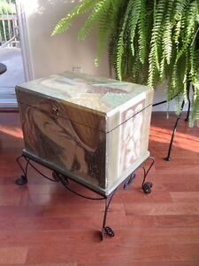 Antique trunk with metal stand