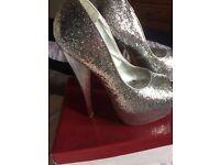 Well Worn Silver Glitter Stilettos.