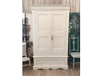 Shabby chic solid pine double wardrobe