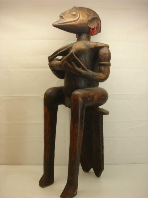 Senufo Tribe Ivory Coast Maternity Statue Sculpture Carved Baga Nimba Seated Old
