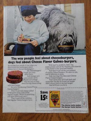 1972 Gaines Burgers Dog Food Ad   Old English Sheep Dog