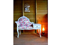 Vintage Telephone Seat Chair Table Chaise Longue Painted Shabby Chic Flowers