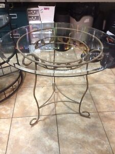 Decorative Table with Beveled Glass Top