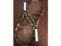 2 x Junior Tennis Rackets, Babolat Aeropro Drive Junior 26, used by 9-10 year old, tournament grade