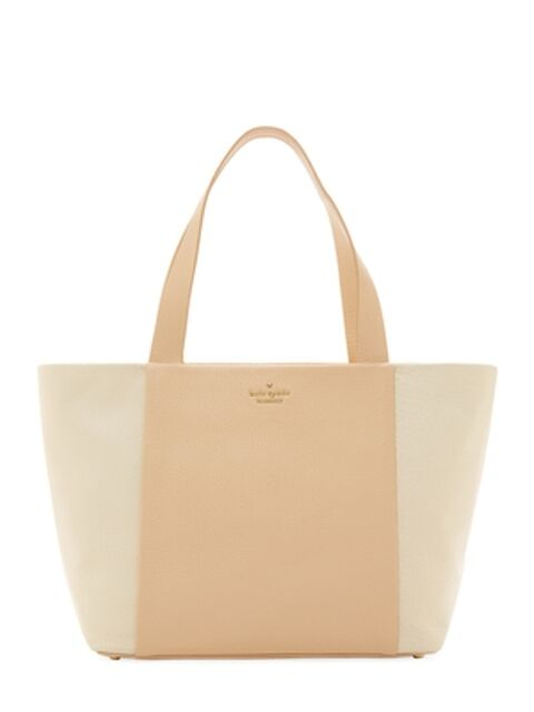 NWT Kate Spade Bromley Street Harmony Leather Tote: Biscotti/Canvas - PXRU5718