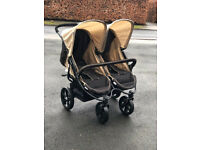 NEW HAUCK ROADSTER DUO SIDE BY SIDE DOUBLE PRAM PUSHCHAIR FROM BIRTH BIG WHEELS ALL TERRAIN UNISEX