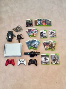 Xbox 360 Console (White) +  Kinect + 3 Controllers + 20  Games