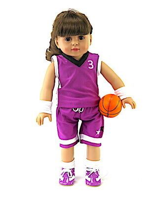 """Doll Clothes 18"""" Basket Ball Shorts Shoes Socks Purple Fits"""