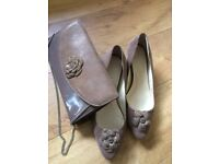 A pair of size 8 ladies Van Dal fawn coloured shoes with matching handbag in lizard print suede