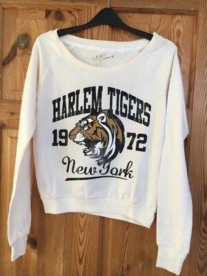 BNWT BRAVE SOUL Ladies Cream Harlem Tiger New York Logo Top Size (Tigers Ladies Cream)