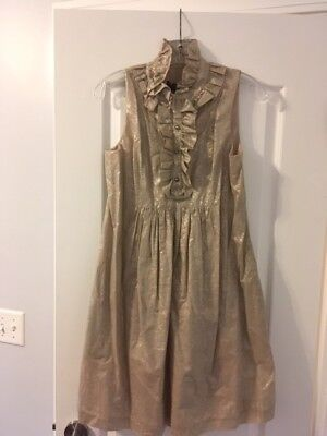 (ABS Collection Sleeveless Ruffle Front Dress- Beige with Silver- NWT- Size 6)