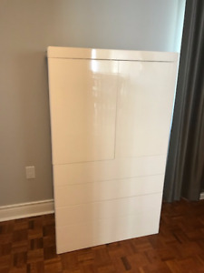 Modern white lacquer hutch (tallboy)//end tables//mirror