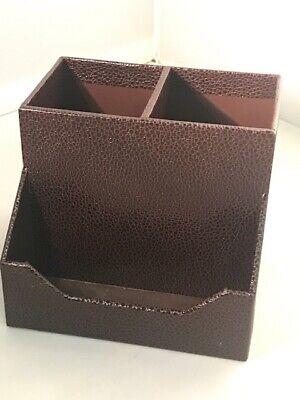 Martha Stewart Shagreen Pencil Cup Card Holder Home Office Stackfit - Brown