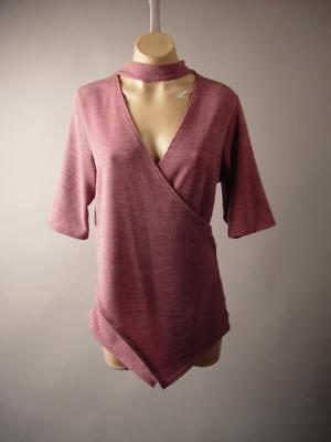 - Plus Mauve Dusty Rose Choker High Neck Faux Wrap Knit Top 261 mv Blouse 1X 2X 3X