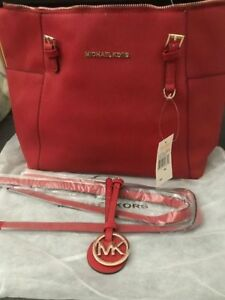 MICHAEL KORS RED JET SET LARGE LEATHER HANDBAG/DETACHABLE STRAPS