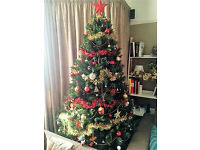 7ft Artificial Christmas Tree with or without red & gold decorations available