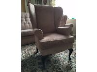 Sherborne pink traditional three piece suite / sofa and two chairs (one being a wing back chair)
