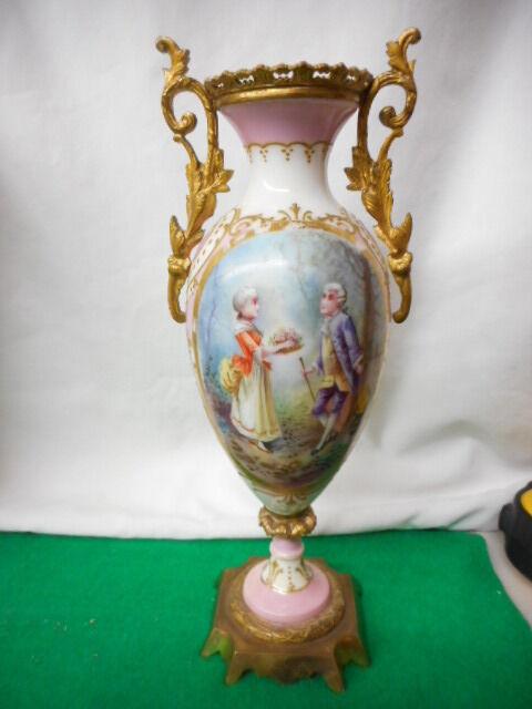"""French Porcelain Ormolu Signed Luigi Hand Painted Vase 10 1/4"""" h Blue Mark"""
