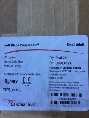 Case Of 20 Cardinal Health 30503-12a - Cuff Soft Small Adult New
