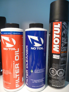 No Toil filter cleaner, oil, and Motul chain lube