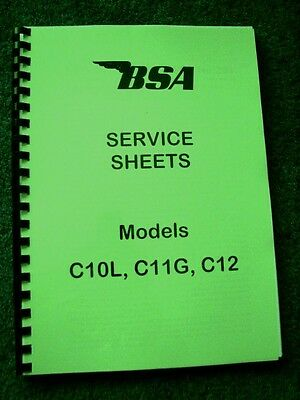 BSA Factory Service Sheets for C10L, C11G and C12 1953 to 1958 - BW06