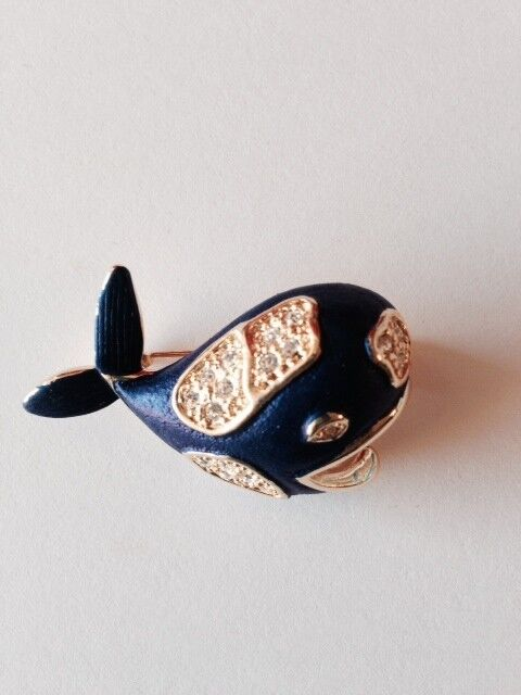 Blue Whale Brooch Gold Plated Enamel Pin Clear Crystals Mothers Day Gifts