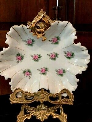 "VINTAGE Beautiful Porcelain Candy , Nut , Jewelry Bowl /Dish Flowers 8"" x 7 1/2"""