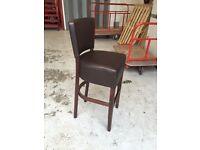 Contract quality bar stools with brown faux leather