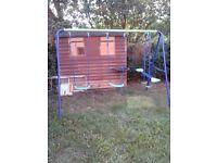 Outdoor Children's Double Swing Set & Seesaw