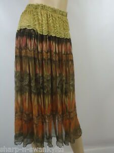 Ladies-Brown-Beige-Lace-Trim-Calf-Length-Midi-Boho-Skirt-UK-6-8-EU-34-36