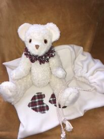 Hand made teddy bear. Fully jointed with neck frill. Any colour. With matching dust bag