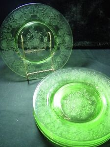 6 Hazel Atlas green depression glass Florentine luncheon salad plates