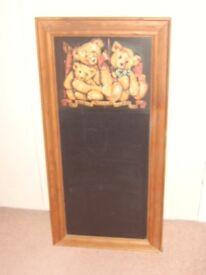 Victorian Vintage Style Teddy Bear Wood Frame Chalkboard 68x33cm Nursery